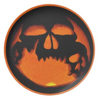 Silueta horrible del cráneo de la calabaza de Hall Plato Para Fiesta
