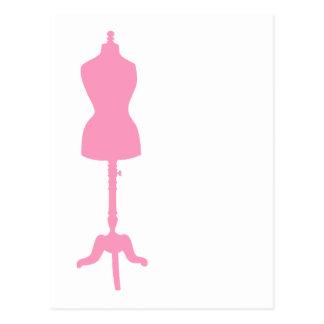 Silueta II de la forma del vestido - rosa Tarjeta Postal