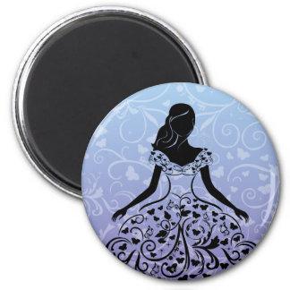 Silueta imaginaria del vestido de Cenicienta Imán Redondo 5 Cm