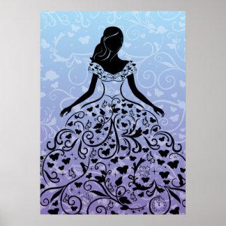 Silueta imaginaria del vestido de Cenicienta Póster
