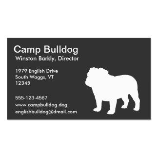 Silueta inglesa blanca del dogo tarjetas de visita