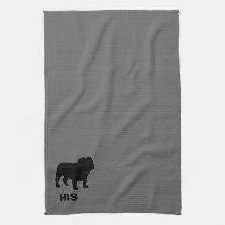 Silueta inglesa del dogo el suyo (personalizable) toallas de mano