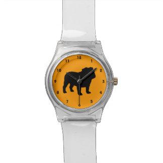 Silueta inglesa del dogo relojes de pulsera