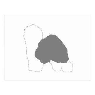 silueta inglesa vieja del color del perro pastor tarjetas postales