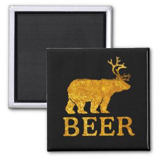 Silueta intrépida de los ciervos o de la cerveza imán cuadrado