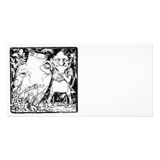 Silueta irlandesa del Leprechaun (negro) Tarjetas Fotograficas Personalizadas