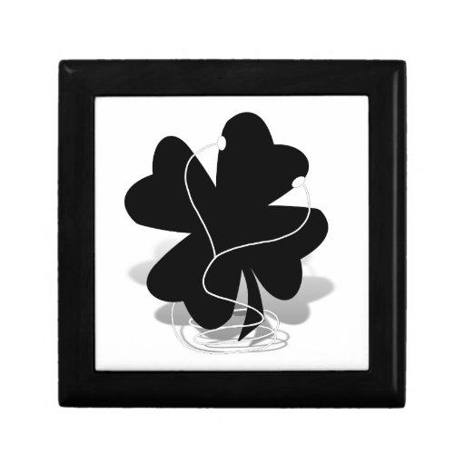 silueta irlandesa del trébol caja de joyas