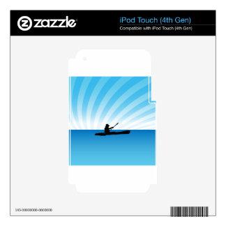 Silueta Kayaking de la canoa de la puesta del sol iPod Touch 4G Calcomanía