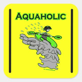 Silueta Kayaking de Whitewater Colcomanias Cuadradas Personalizadas