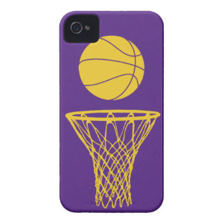 silueta Lakers del baloncesto del iPhone 4 púrpura iPhone 4 Case-Mate Protector