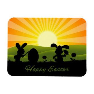 Silueta linda de los conejos de Pascua - imán flex