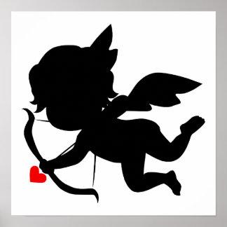 Silueta linda del Cupid Póster