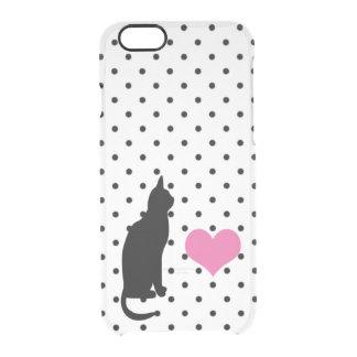 Silueta linda del gato negro - caso infrecuente funda clearly™ deflector para iPhone 6 de uncommon