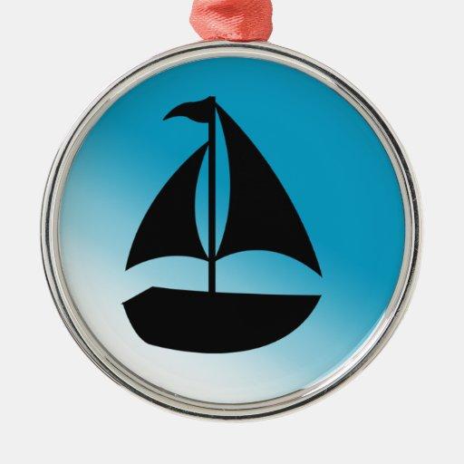 Silueta linda del velero adornos