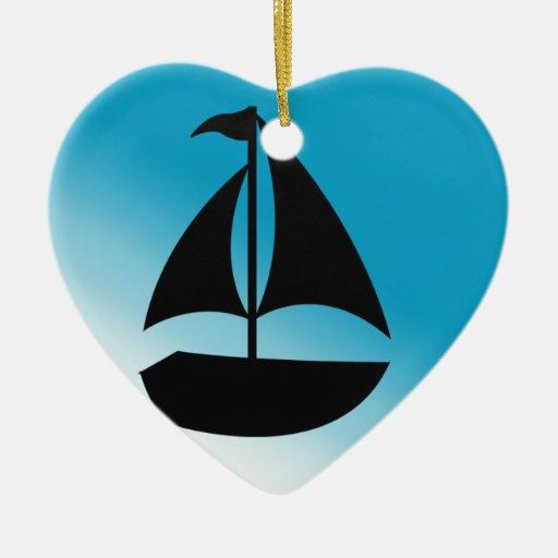 Silueta linda del velero adorno de navidad