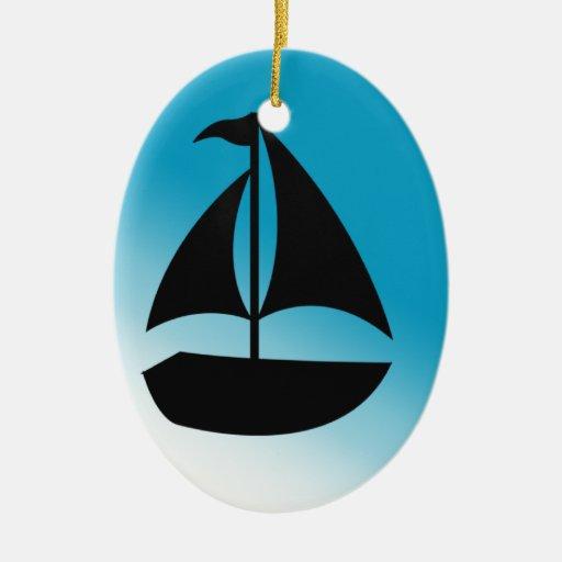 Silueta linda del velero ornamento de navidad