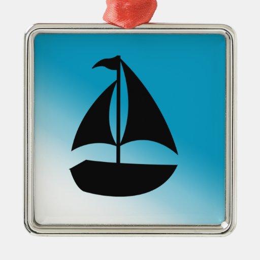 Silueta linda del velero ornamentos de navidad