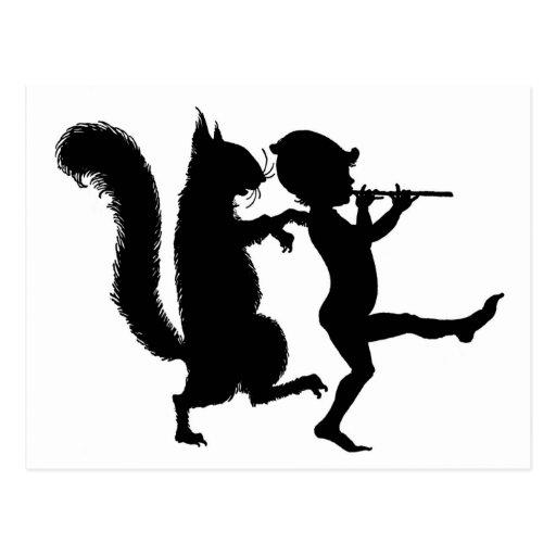 Silueta mágica de la ardilla y del duende de la di postal