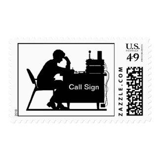 Silueta masculina del jamón en el sello de copiado