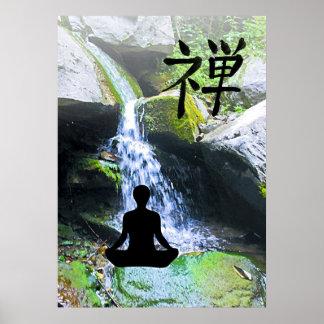 Silueta Meditating por la cascada Póster