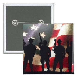 Silueta militar patriótica del soldado pin cuadrada 5 cm