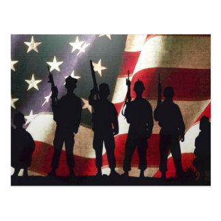 Silueta militar patriótica del soldado tarjeta postal