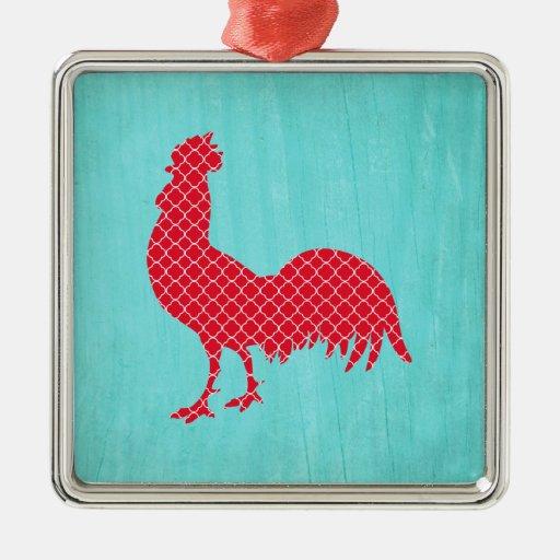 Silueta modelada rojo del gallo adorno navideño cuadrado de metal