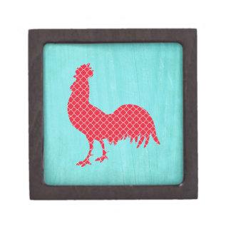 Silueta modelada rojo del gallo cajas de recuerdo de calidad