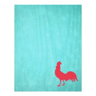 Silueta modelada rojo del gallo membrete