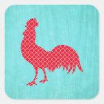 Silueta modelada rojo del gallo pegatina cuadrada