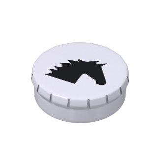 Silueta negra de la cabeza de caballo elegante jarrones de caramelos