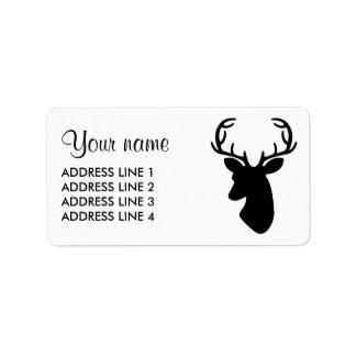 Silueta negra de la cabeza de los ciervos etiqueta de dirección