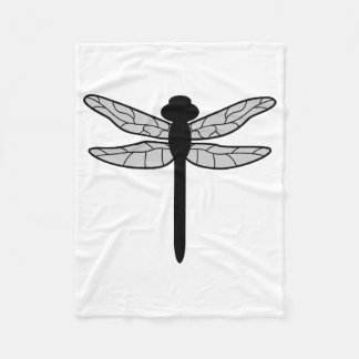 Silueta negra de la libélula en blanco manta de forro polar