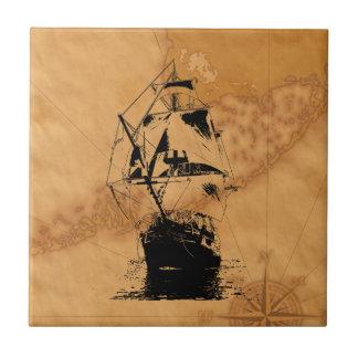 Silueta negra de la nave azulejo cuadrado pequeño