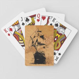 Silueta negra de la nave cartas de póquer