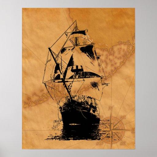 Silueta negra de la nave póster