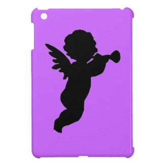 Silueta negra de la querube en fondo coloreado iPad mini fundas