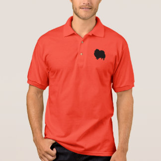 Silueta negra de Pomeranian Camiseta Polo