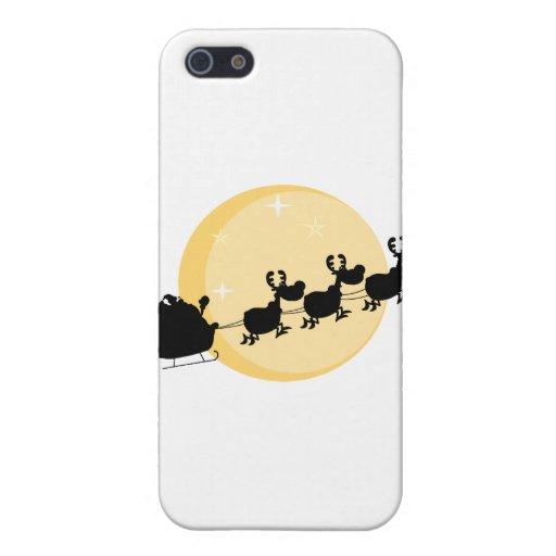 Silueta negra de Santa y de volar de los renos iPhone 5 Funda