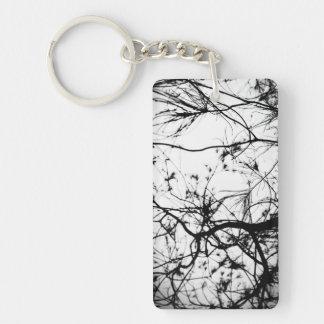 Silueta negra del árbol llavero rectangular acrílico a doble cara