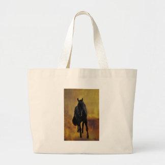 Silueta negra del caballo bolsas de mano