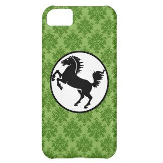 Silueta negra del caballo en modelo verde funda para iPhone 5C