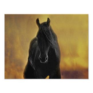 """Silueta negra del caballo invitación 4.25"""" x 5.5"""""""