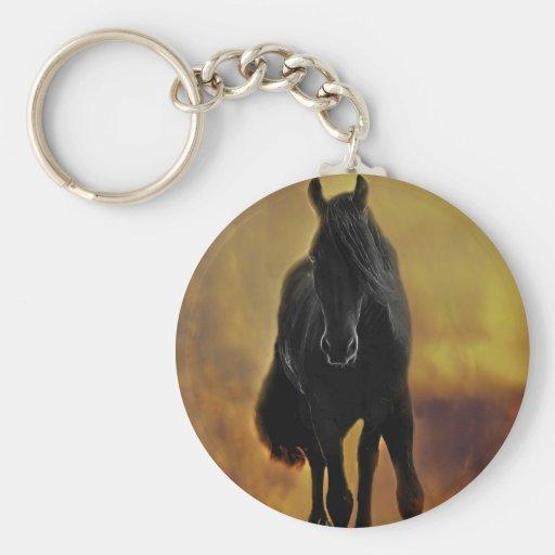 Silueta negra del caballo llavero personalizado