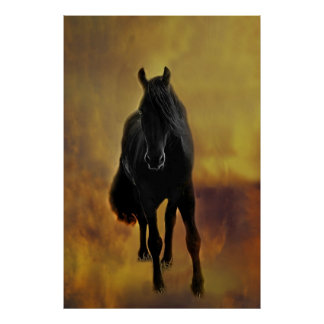 Silueta negra del caballo posters