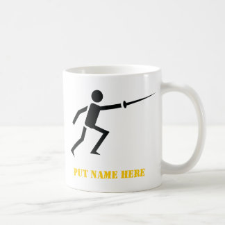 Silueta negra del cercador que cerca personalizado tazas de café