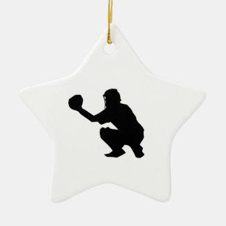 Silueta negra del colector del béisbol adorno de cerámica en forma de estrella