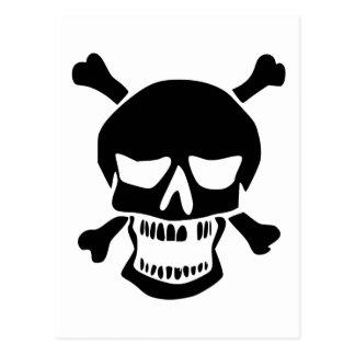 Silueta negra del cráneo y de la bandera pirata postal