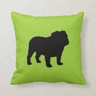 Silueta negra del dogo en el verde (personalizable cojín