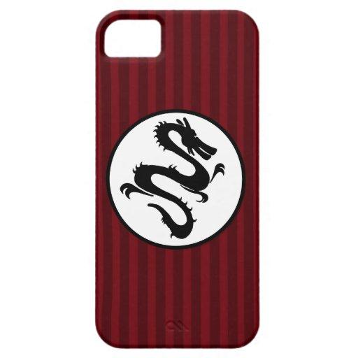 Silueta negra del dragón en rayas rojas iPhone 5 carcasas